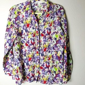 Cold water creek silk bold floral blouse
